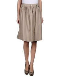 High Knee Length Skirts Beige