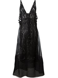 No21 Metallic Effect Striped Long Dress Black