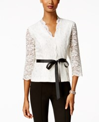 Alex Evenings Scalloped Lace Blouse Ivory
