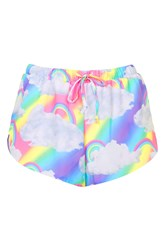 Rainbow Cloud Print Shorts By Jaded London Multi