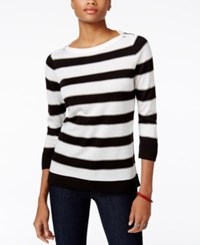 Tommy Hilfiger Striped Sweater Only At Macy's Ivory Black Combo