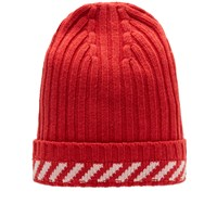 Off White Diagonals Beanie Red