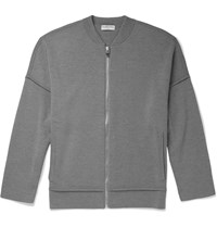Balenciaga Zip Up Wool Jersey Sweater Gray
