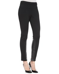 St. John Leather Inset Cropped Leggings