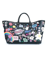 Anya Hindmarch Leather Sticker Ebury Tote Black Multi Coloured Yellow