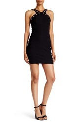 Trixxi Cutaway Grommet Mini Dress Black