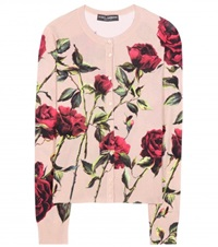 Dolce And Gabbana Floral Printed Silk Cardigan Neutrals