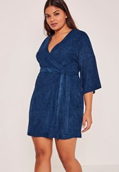 Missguided Blue Plus Size Faux Suede Kimono Dress Navy