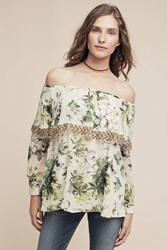 Anthropologie Darcie Off The Shoulder Top Green Motif