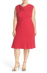 Tahari Plus Size Women's Drape Neck Jersey Fit And Flare Dress
