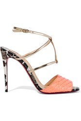 Christian Louboutin Lovabrida 100 Metallic Leather Trimmed Python Sandals Coral