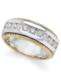 Macy's Men's Diamond Two Tone Ring 1 Ct. T.W. In 14K Gold And White Gold