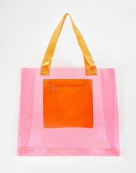 Echo Clear Tote Beach Bag With Pocket Pink