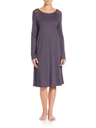 Hanro Franca Long Sleeve Gown Purple Grey