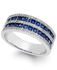Macy's Sapphire 1 1 10 Ct. T.W. And Diamond 1 3 Ct. T.W. Band In 14K White Gold