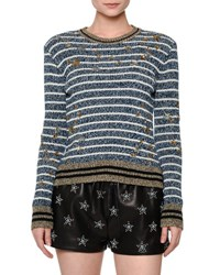 Valentino Striped Star Embellished Sweater Blue White Gold