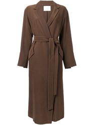 Rito Belted Single Breasted Coat Brown