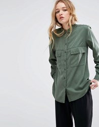 Native Youth Tencel Utility Shirt Olive Green