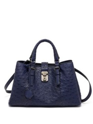 Bottega Veneta Roma Ostrich Satchel Atlantic