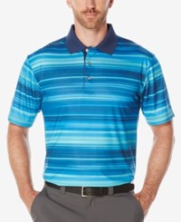 Pga Tour Men's Variegated Stripe Polo Multi Blue