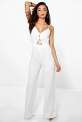 Boohoo Lana Lace Up Front Jumpsuit Ivory