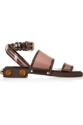 Givenchy Brown Crystal Embellished Leather And Plastic Flat Sandals