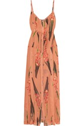 Topshop Unique Selwyn Floral Print Silk Georgette Maxi Dress Orange