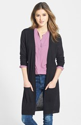 Petite Women's Halogen Long Linen Blend Cardigan Black