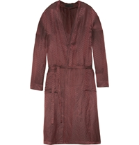 Haider Ackermann Chevron Jacquard Linen And Silk Blend Robe Burgundy