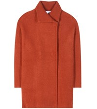 Diane Von Furstenberg Avril Wool Cashmere And Angora Blend Coat Orange