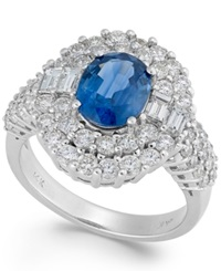 Macy's Sapphire 2 1 5 Ct. T.W. And Diamond 1 3 4 Ct. T.W. Round Ring In 14K White Gold