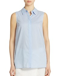 Lord And Taylor Petite Striped Button Back Blouse Basic Blue