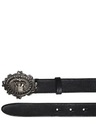 Dolce And Gabbana 30Mm Crown Buckle Leather Belt