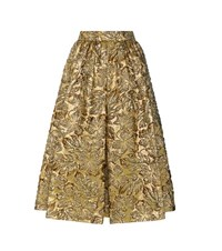 Prada Metallic Cloque Jacquard Skirt Gold
