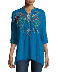 Johnny Was Yang Lace Up Embroidered Blouse