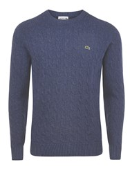 Lacoste Crew Neck Cable Knit Sweater Midnight Blue