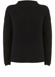 Mint Velvet Black Rib Funnel Neck Crop Knit Black