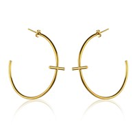 Marcia Vidal Large Gold Cross Hoop Earrings