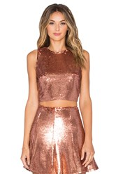 Lovers Friends X Revolve Shake It Crop Top Metallic Gold