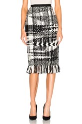 Oscar De La Renta Handmade Fringe Skirt In Black White Checkered And Plaid Black White Checkered And Plaid