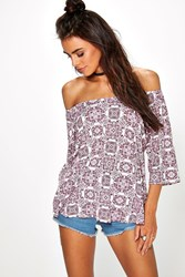 Boohoo Printed Off The Shoulder T Shirt Multi