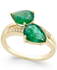 Macy's Emerald 4 Ct. T.W. And Diamond Accent Statement Ring In 14K Gold Green