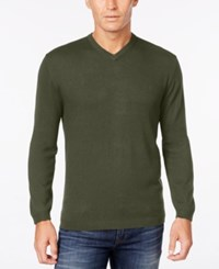 Weatherproof Vintage Men's Big And Tall V Neck Sweater Only At Macy's Tuscan Olive