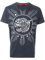 Diesel Tiger Print T Shirt Blue