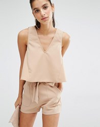 Parallel Lines Crop Swing Top With Deep V Co Ord Nude Beige