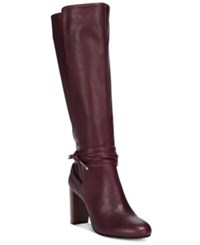 Thalia Sodi Alda Ankle Wrap Tall Boots Only At Macy's Women's Shoes Dark Ruby