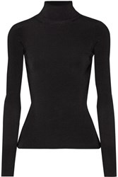 Elizabeth And James Renner Cutout Ribbed Stretch Knit Turtleneck Top Black