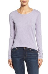 Caslonr Women's Caslon Long Sleeve Slub Knit Tee Purple Ash
