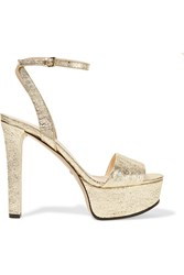 Gucci Metallic Cracked Leather Platform Sandals