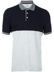 Brunello Cucinelli Colour Block Polo Shirt Grey